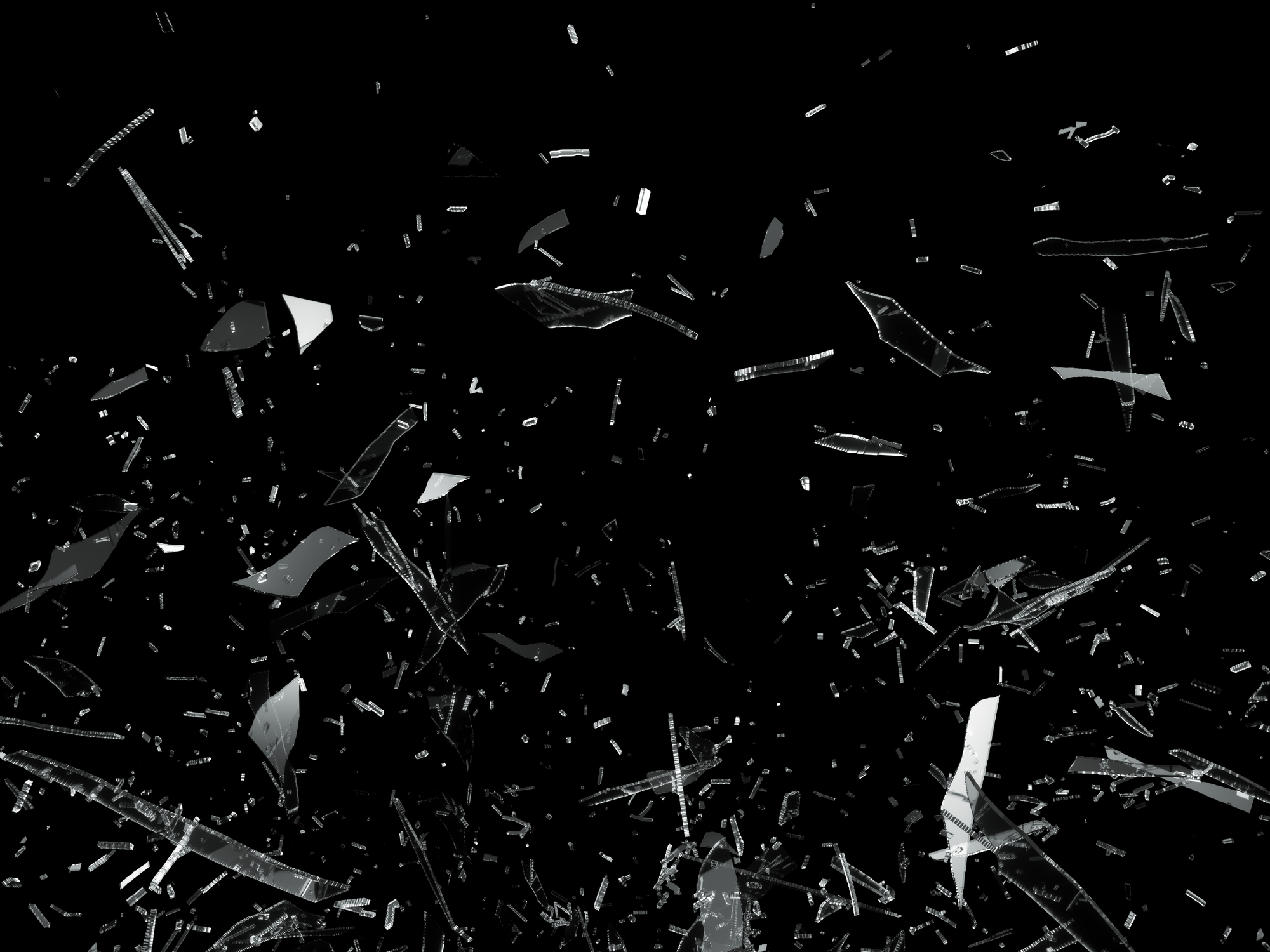 Pieces of Broken Shattered glass on black