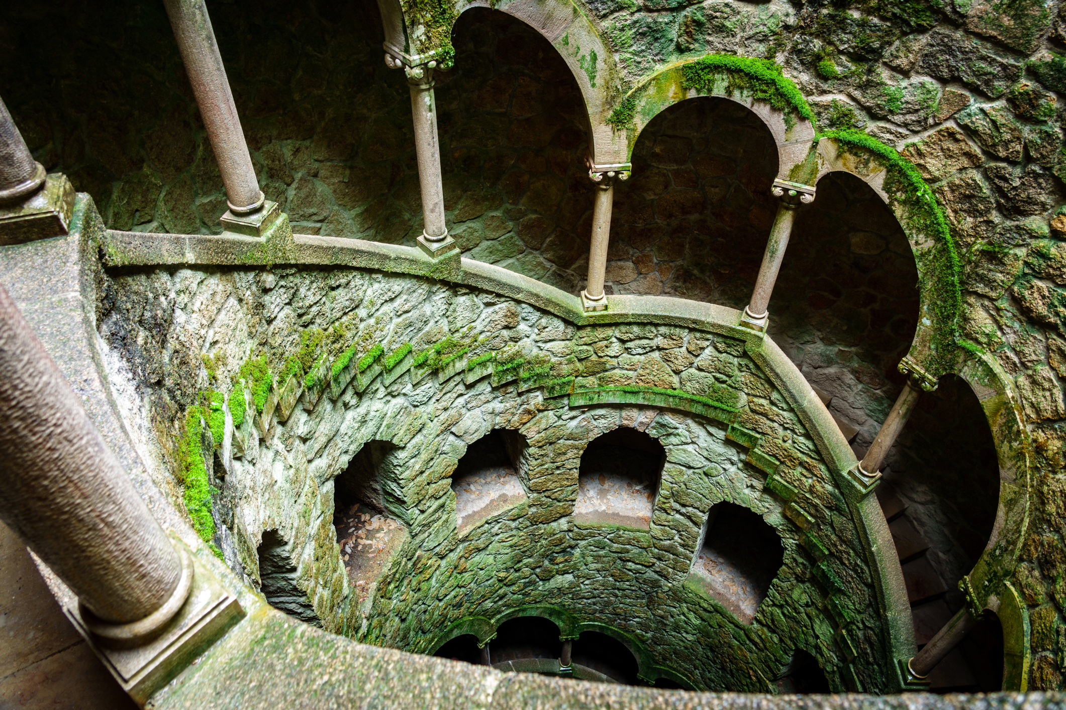 Wide angle top view of the Initiation Well with no tourists in Sintra, Portugal
