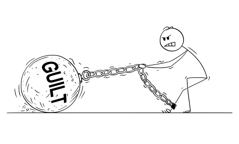 "Cartoon depicting stick figure hauling a weight labeled ""Guilt"""