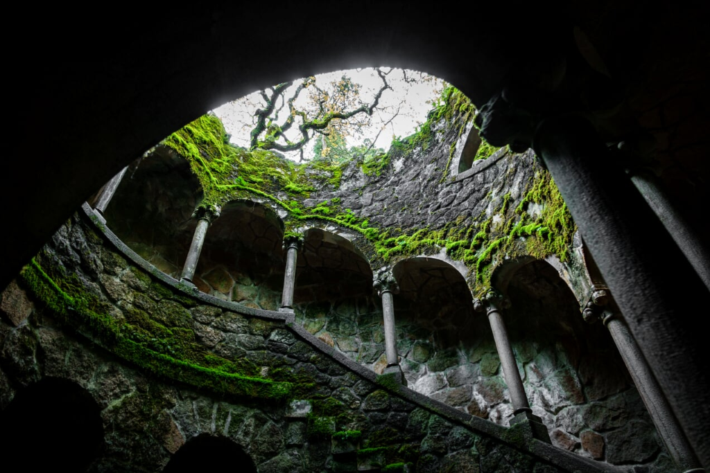 Wide angle bottom-up view of the Initiation Well in Sintra, Portugal